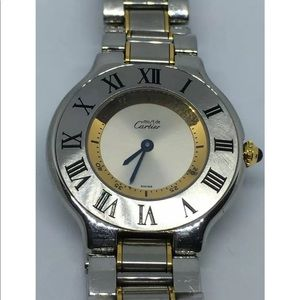 """Auth 18kt cartier Watch 7"""" band works like new"""
